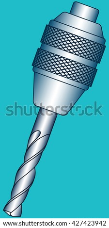 Illustration of the chuck with drill - stock photo