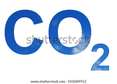 Illustration of the CO2 pattern over the sky - stock photo