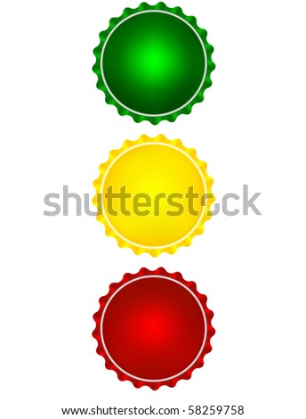 Illustration of the colored bottle caps looks like a traffic light - stock photo