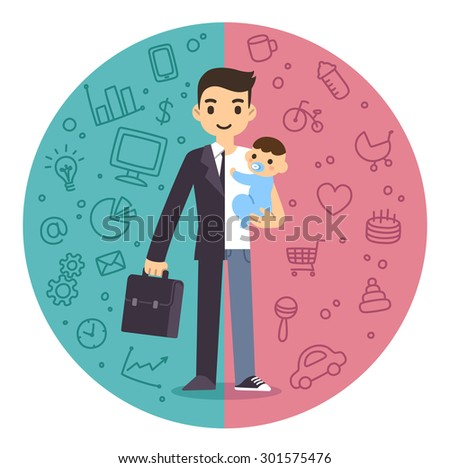 Illustration of the concept of life and work balance. Young businessman in suit on the left and with baby on the right. Background is divided in two theme patterned parts. - stock photo