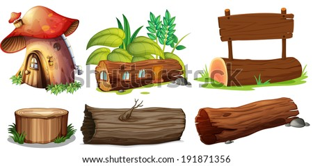 Illustration of the different uses of woods on a white background - stock photo