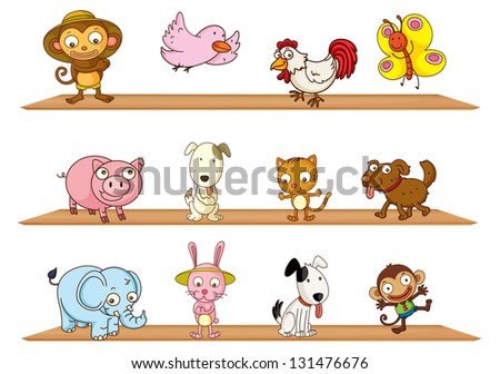 Illustration of the diffrent kinds of toy animals on a white background
