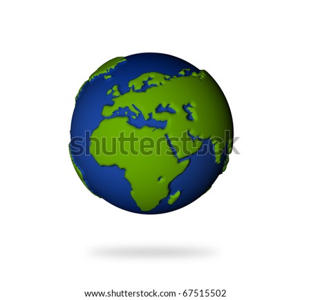 Illustration of the earth in 3d view. Europe and African lands. - stock photo