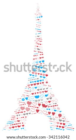 Illustration of the Eiffel Tower filled with hearts.