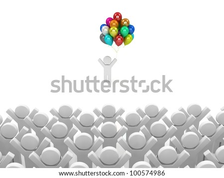 Illustration of the especial person, standing alone. Concept of unique. Concept of win. - stock photo