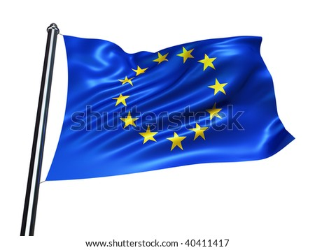 Illustration of the European Union flag isolated on white  - 3d render