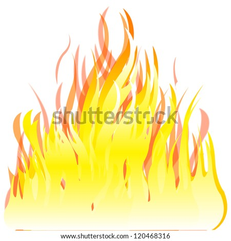 Illustration of the fire on white background.Raster version