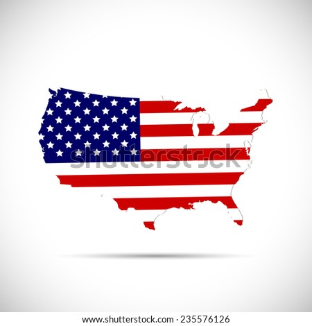 Illustration of the flag of the United States of America on a map isolated on a white background. - stock photo