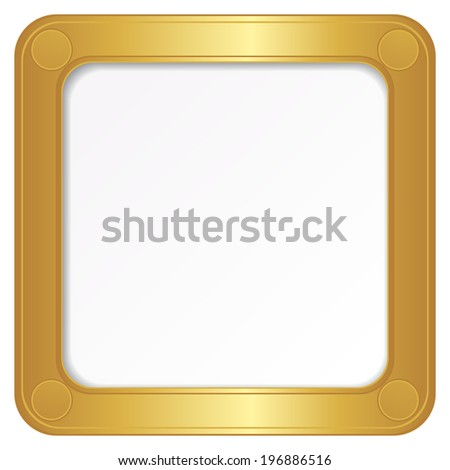 illustration of the golden photo frame on a white background