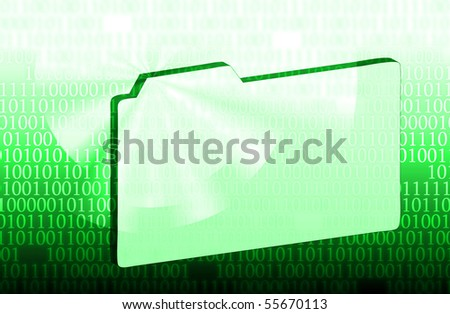illustration of the green folder and binary code - stock photo