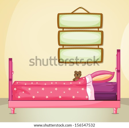 Illustration of the hanging signboards inside a room with a pink bed - stock photo