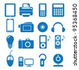 illustration of the icons of the electronics - stock vector