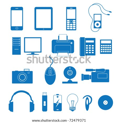 illustration of the icons of the electronics - stock photo