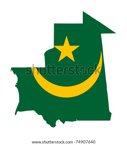 Illustration of the Mauritania flag on map of country; isolated on white background.
