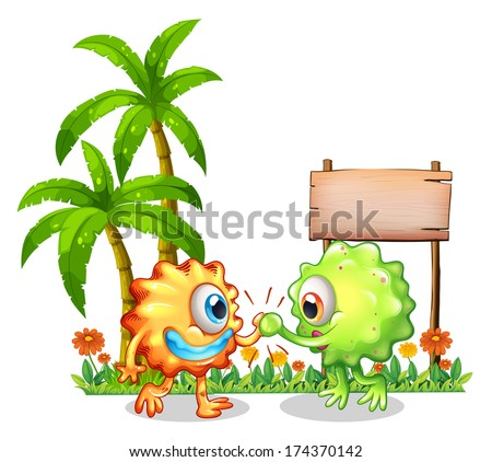 Illustration of the monsters near the wooden signboard on a white background - stock photo