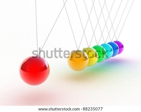Illustration of the multicolored pendulum on a white background - stock photo