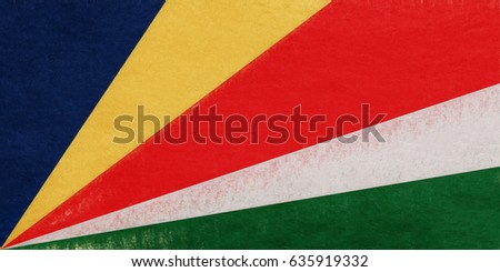 Illustration of the national flag of Seychelles with a grunge look.