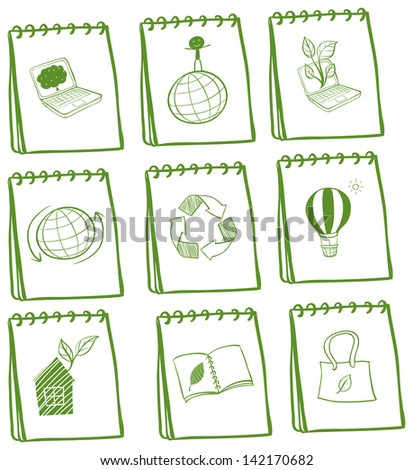 Illustration of the notebooks with eco-friendly logos on a white background - stock photo