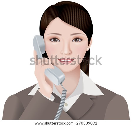 Illustration of the office lady./ Correspondence with a smile. - stock photo