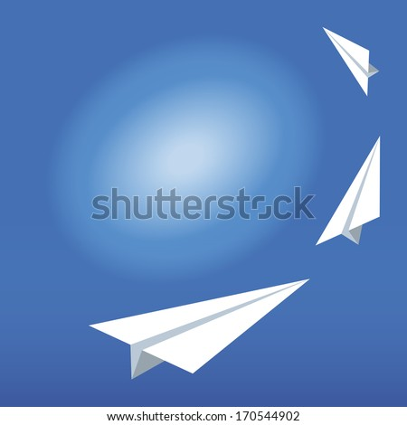 Illustration of the paper plane on the blue sky.