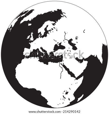 Illustration of the planet earth with shadow in negative - stock photo