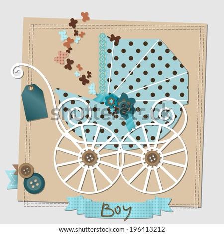 Illustration of the scrap-booking card with the vintage stroller. Raster version. - stock photo