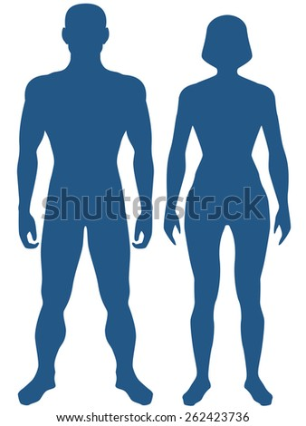 Illustration of the silhouette human body. Man and woman - stock photo