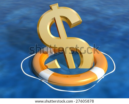 Illustration of the sinking dollar being saved - stock photo