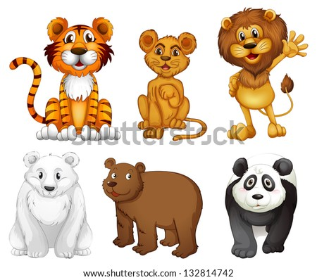 Illustration of the six wild animals on a white background - stock photo