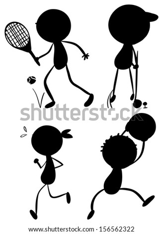 Illustration of the sport silhouettes on a white background - stock photo