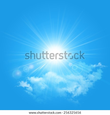 Illustration of the sun and cloud isolated on a blue background - stock photo