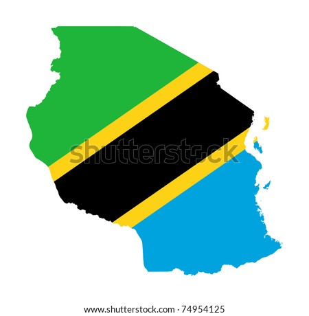 Illustration of the Tanzania flag on map of country; isolated on white background.
