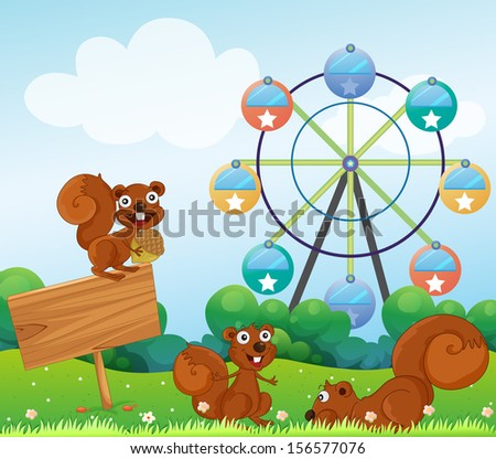 Illustration of the three playful squirrels near the empty arrowboard at the hilltop - stock photo