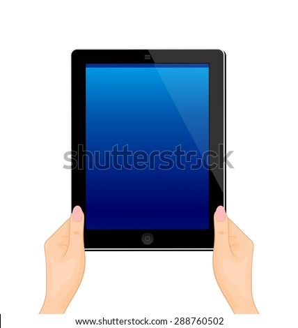 Illustration of the turned on computer tablet in a hand of the woman isolated on a white background - raster - stock photo