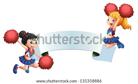 Illustration of the two cheerleaders with a signage on a white background - stock photo