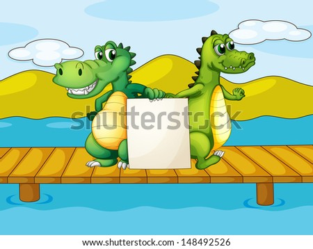 Illustration of the two crocodiles holding an empty board - stock photo