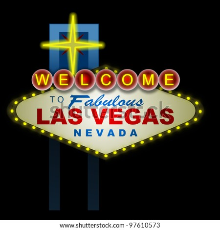 Illustration of the Vegas sign at night. - stock photo