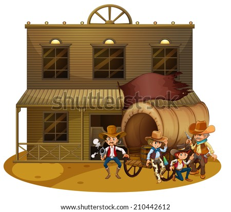 Illustration of the Western people outside the wagon on a white background - stock photo