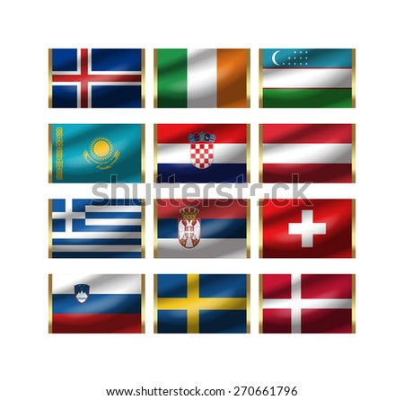 Illustration of the world national flag./ The illustration of the national flag can be synthesized to the illustration of the key ring. - stock photo