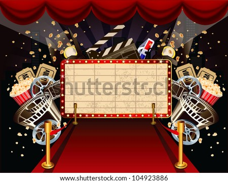 Illustration of theatre marquee with movie theme objects - stock photo