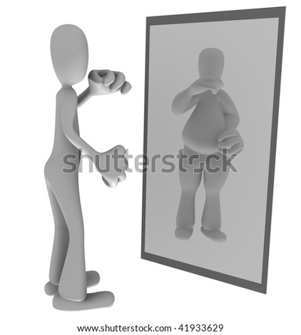 Illustration of thin person looking at fat reflection in mirror - stock photo