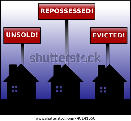 Illustration of three black houses in silhouette under signs stating unsold, repossessed and evicted on a blue gradient background. - stock photo