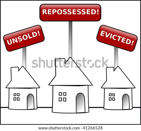 Illustration of three round shaped houses with black outlines under signs stating unsold, repossessed and evicted. - stock photo