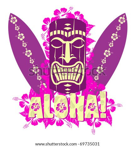 Illustration of tiki mask with surf boards, and hand drawn text Aloha - stock photo