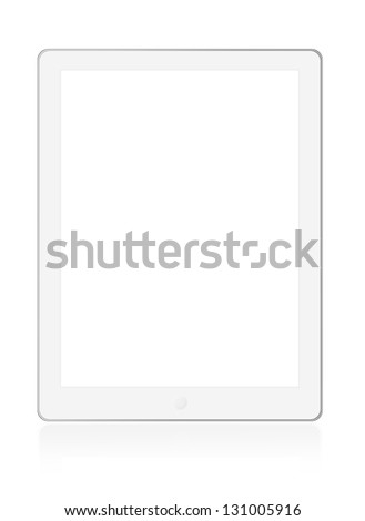 Illustration of touch screen tablet computer on white background - stock photo