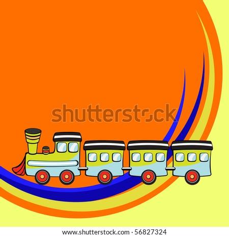 illustration of Transport Cartoon. Little funny train - stock photo