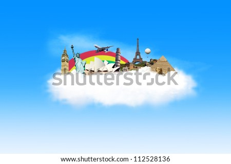 Illustration of travel destination with famous monument around the world on the cloud - stock photo