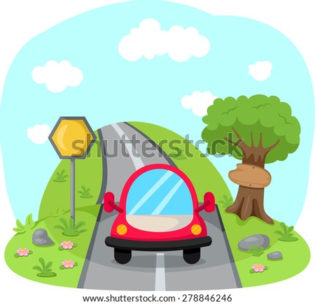 illustration of traveling car on country road  - stock photo
