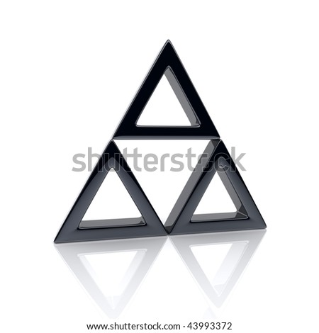 Illustration of triangle with black elements (leadership concept) - stock photo