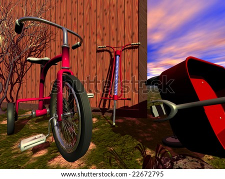 illustration of tricycle, pogo-stick and wagon in a rural setting - stock photo